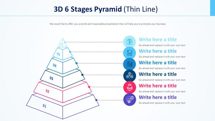 3D 6 단계 피라미드 다이어그램 (가는 선)_01