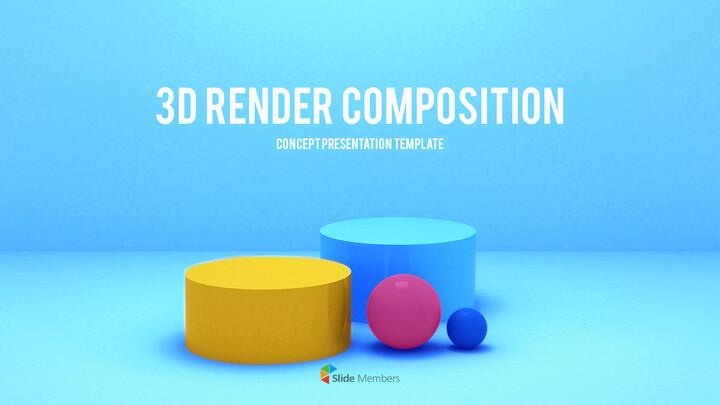 3D Render Composition Business plan PPT_01