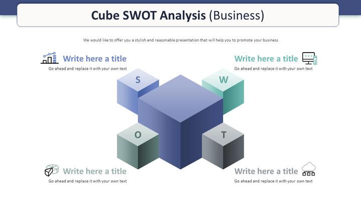 큐브 SWOT 분석 다이어그램 (비즈니스)_01