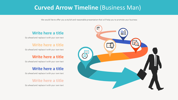 Curved Arrow Timeline Diagram (Business Man)_01