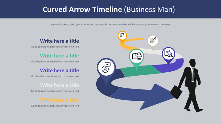 Curved Arrow Timeline Diagram (Business Man)_02
