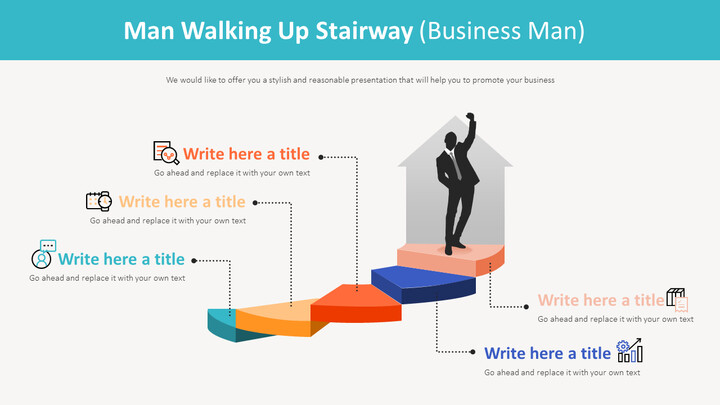 Man Walking Up Stairway Diagram (Business Man)_01