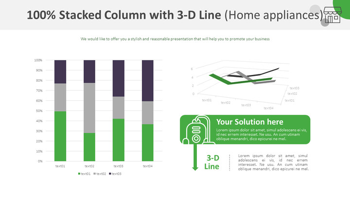 100% Stacked Column with 3-D Line Chart (Home appliances)_01