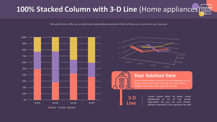 100% Stacked Column with 3-D Line Chart (Home appliances)_02