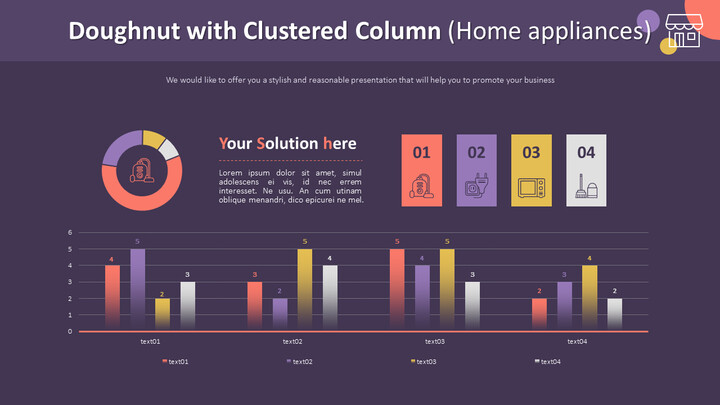 Doughnut with Clustered Column Chart (Home appliances)_02