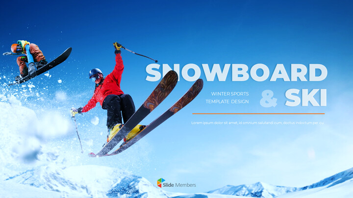 스노우 보드 & 스키 PPT 테마 슬라이드_01