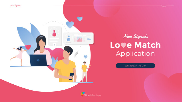 PowerPoint의 Love Match 응용 프로그램 테마 애니메이션 슬라이드_01
