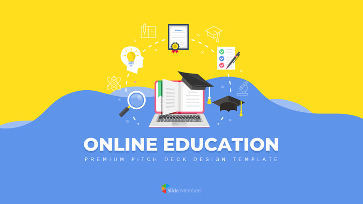 オンライン教育サービス最高のPowerPointプレゼンテーションアニメーションスライド_01