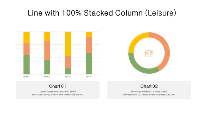 Doughnut with 100% Stacked Column Mix Chart_01