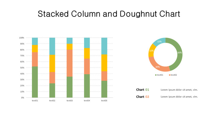 Doughnut with 100% Stacked Column Mix Chart_02