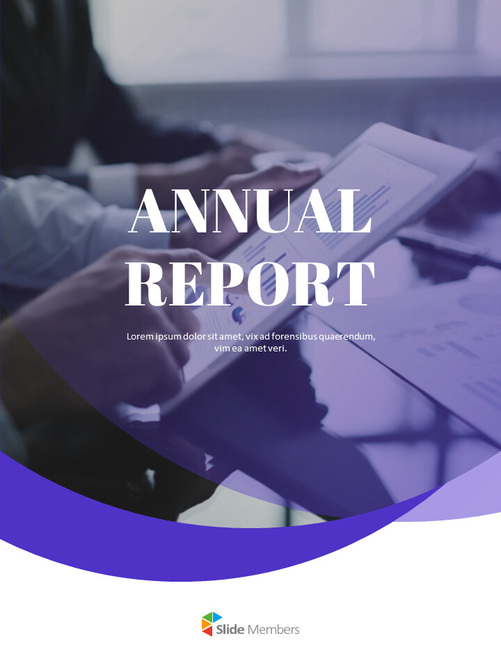 Purple Annual Report Google Slides Template Diagrams Design_01