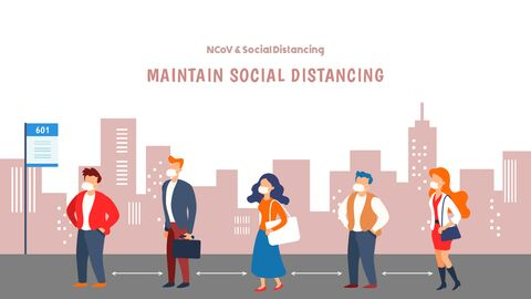 Post-Coronavirus World -  Social Distancing Simple PowerPoint Template Design_40