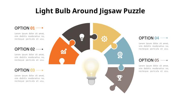 PowerPoint에서 반원 퍼즐 목록 다이어그램 애니메이션 슬라이드_02