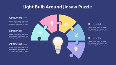 PowerPoint에서 반원 퍼즐 목록 다이어그램 애니메이션 슬라이드_05