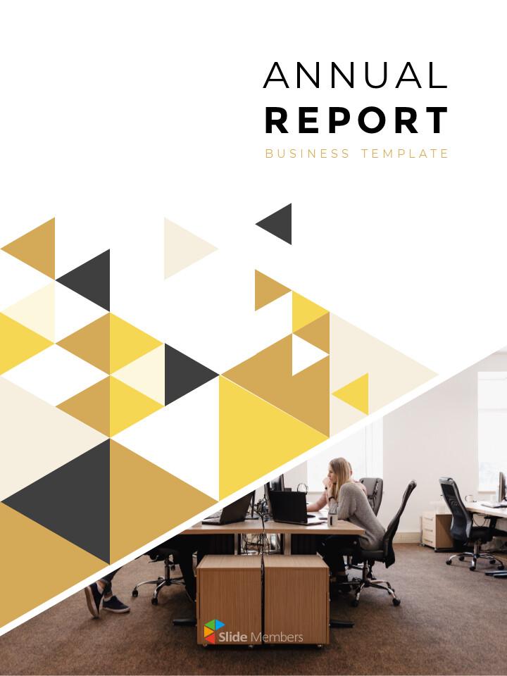 기하학적 도형 연례 보고서 디자인 파워포인트 프레젠테이션 슬라이드_01