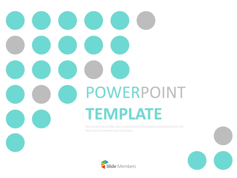 Free Powerpoint Templates Design Mint Gray Circled Background