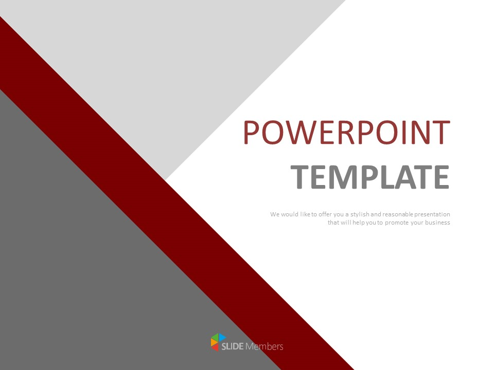 Gray Dark Red Triangle Free Powerpoint Template