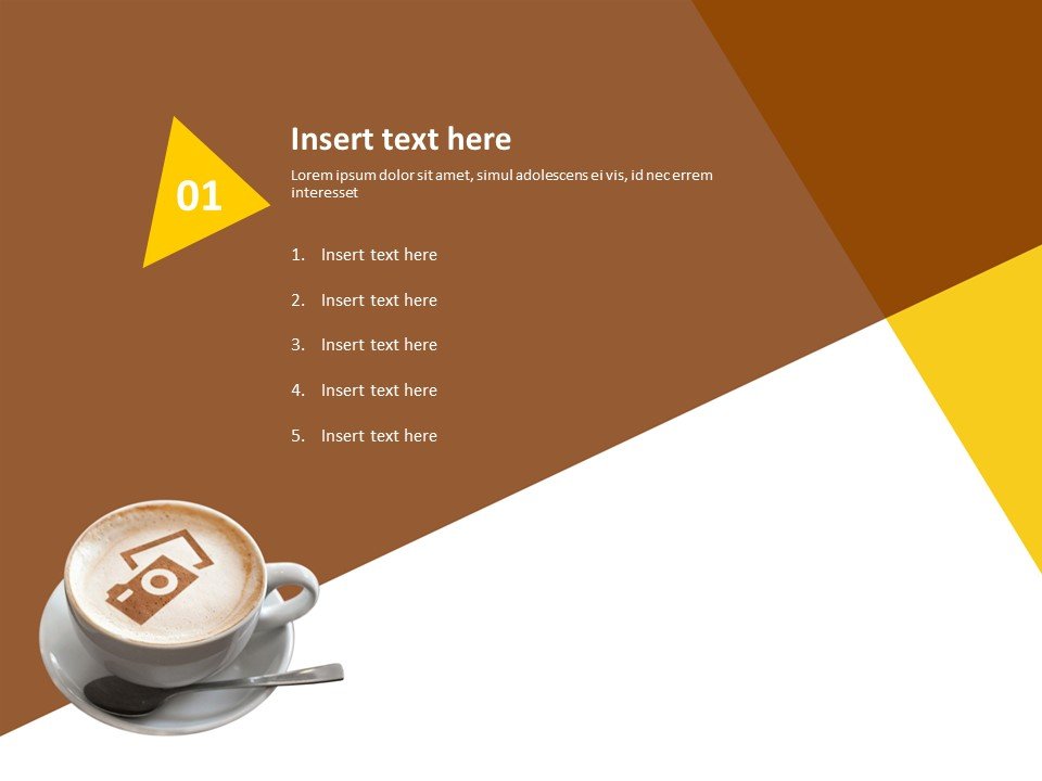 Coffee Cup And Brown Yellow Background Free Ppt Template
