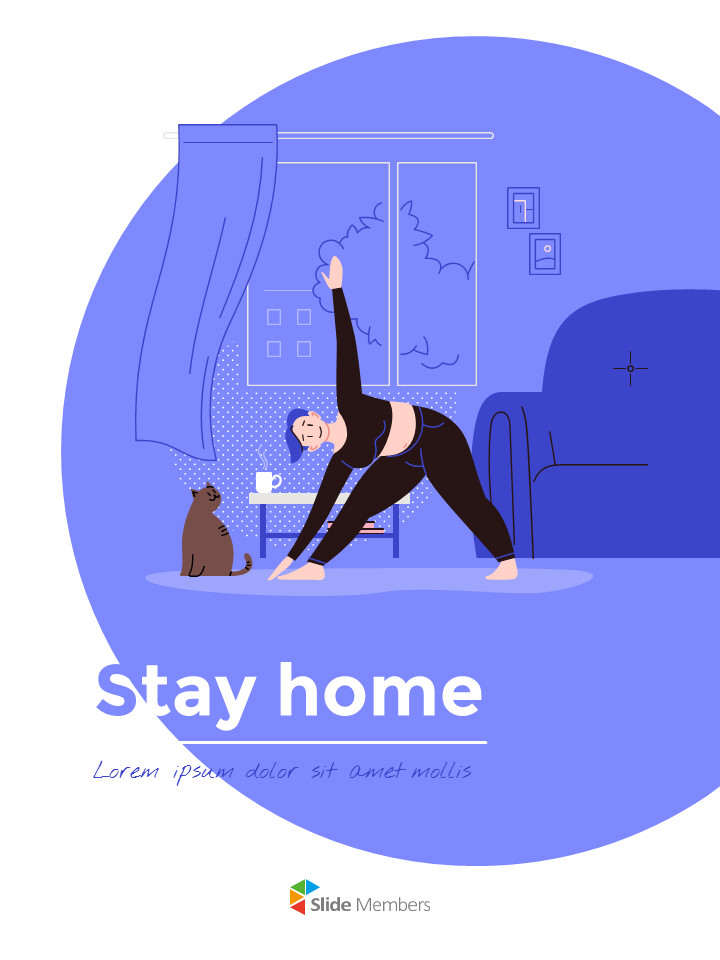 Stay Home Flat Illustration Design Pack Google Slides to PowerPoint_01