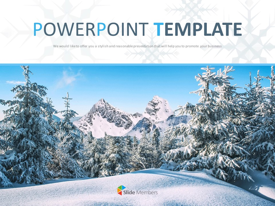 Free Ppt Sample A Winter Mountain Covered With Snow