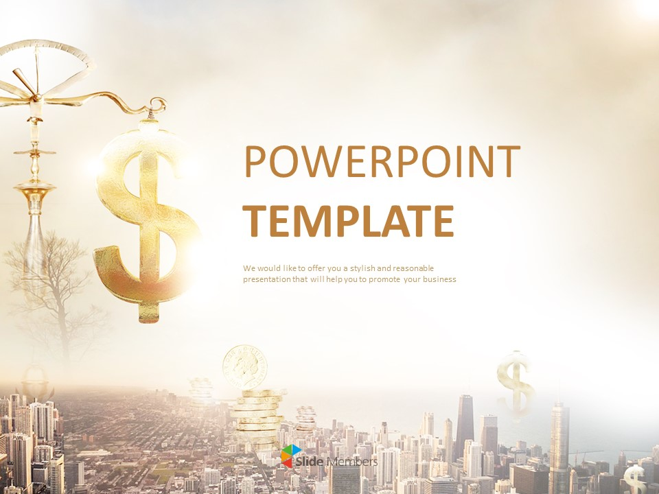 Free Powerpoint Template A City And Financial
