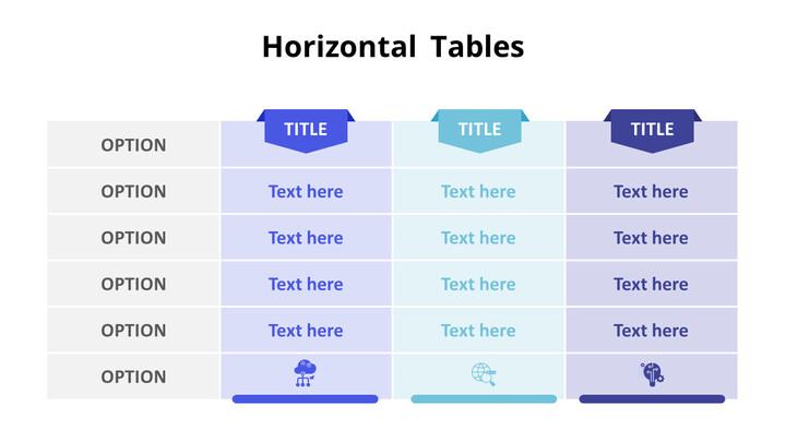 3 개의 수평 목록 테이블 세트_01
