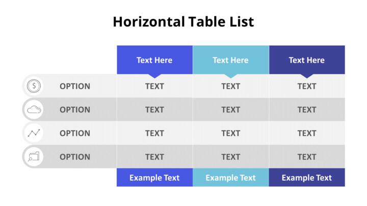 3 개의 수평 목록 테이블 세트_02