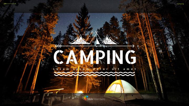 캠핑 프레젠테이션용 Google 슬라이드 테마_01