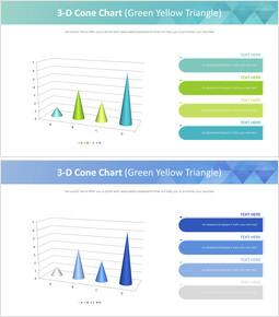 3 차원 원추형 차트 (녹색 노랑 삼각형)_00