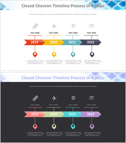 4 단계 Chevron Timeline 프로세스 다이어그램_2 slides