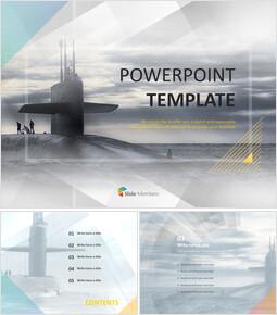 거대한 잠수함 - 무료 PowerPoint 템플릿 디자인_00