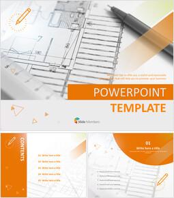 디자인 도면 및 펜 - 무료 파워포인트 템플릿_00