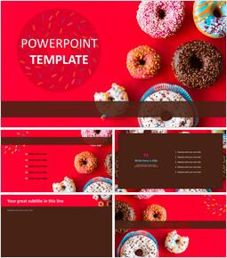 무료 프리젠테이션 템플릿 - 다양한 색상의 도넛_00
