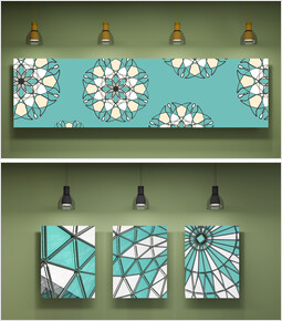 Green, Mint, sky blue Color Art wall Mockup PPT Design_00