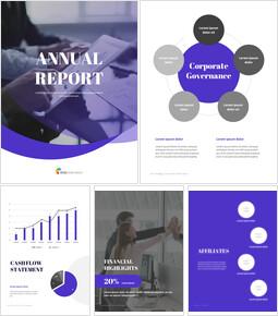 보라색 연례 보고서 Google 슬라이드 템플릿 다이어그램 디자인_00