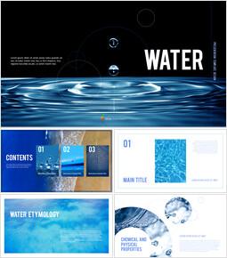 Wasser Einfaches PowerPoint-Vorlagendesign_00