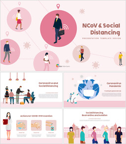 Post-Coronavirus World -  Social Distancing Simple PowerPoint Template Design_00