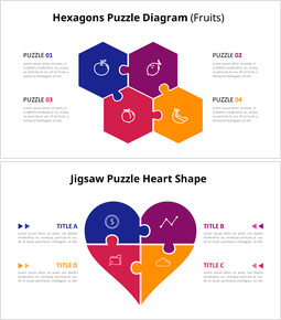 4 Pieces Jigsaw Puzzle Design Diagram Animation Templates_14 slides