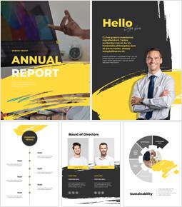 디자인 그룹의 연례 보고서 레이아웃 제안 프레젠테이션 템플릿_00