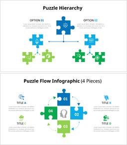Diapositive animate del diagramma infografico dei pezzi del puzzle_6 slides