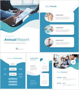 웨이브 디자인 연차 보고서 편집이 쉬운 구글 슬라이드 템플릿_00