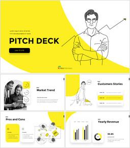 Line Business Illustration Pitch Deck investor pitch presentation ppt_00