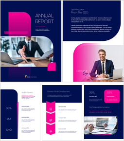 Pink Business Annual Report Template PowerPoint Templates Design_00