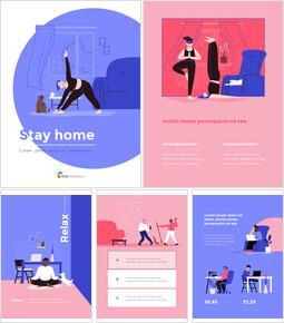 Stay Home Flat Illustration Design Pack Presentation Templates Design_00