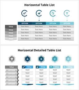 4 Horizontal List Table Set_14 slides