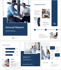 Blue Layout 연례 보고서 파워포인트 Google 슬라이드_00