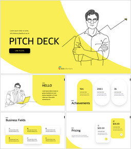 Line Business Illustration Pitch Deck template keynote_00