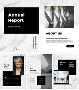 Marble Background Design Annual Report Templates for PowerPoint_00