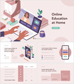 Online Education at Home Deck Template keynote presentation templates free_13 slides