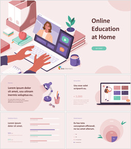 Online Education at Home Deck Template PowerPoint Design ideas_13 slides